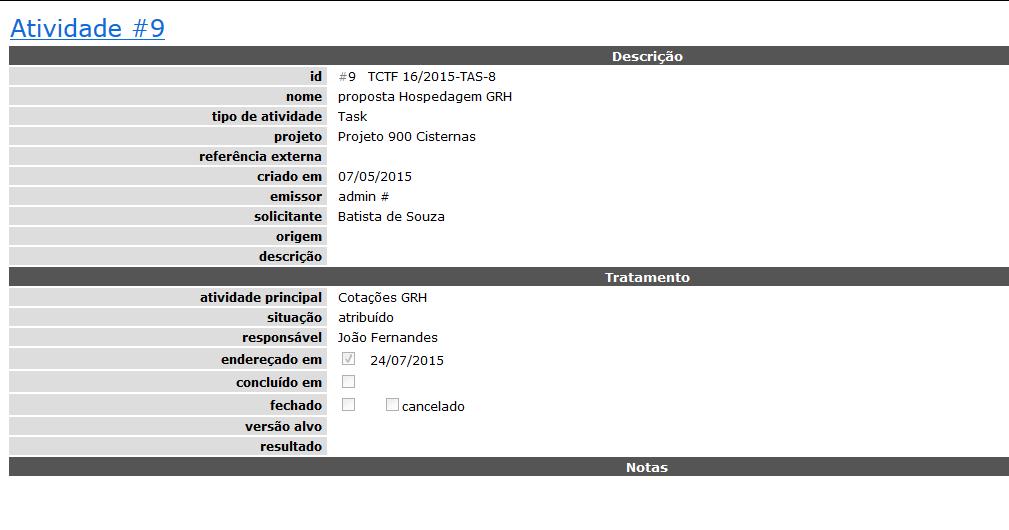 activity to email - gerenciador de projetos