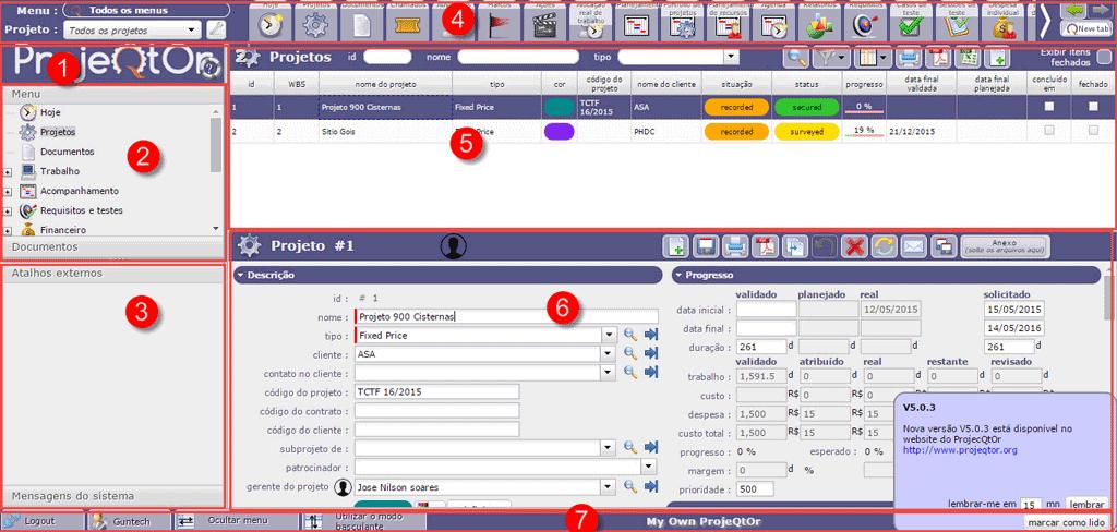 projeqtor screen de gerenciador de projetos